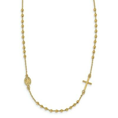 14K White Gold Beaded /& Polished Cross Charm Pendant