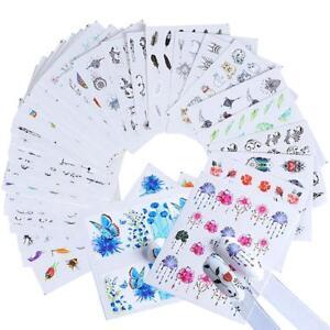 40PcsWatermark-Slider-Nail-Sticker-Aufkleber-Wassertransfer-Tattoo-Blume-Sc-C6N7