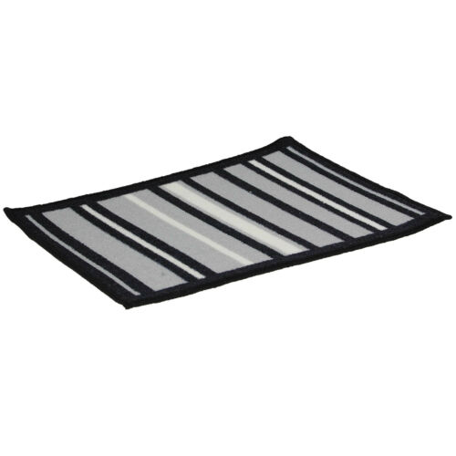 Black And Grey Stripe Design Machine Washable Door Mat Hardwearing Doormat Rug