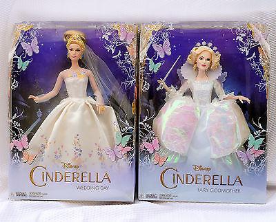 Disney CINDERELLA WEDDING DAY & FAIRY GODMOTHER DOLL SET (2 dolls)