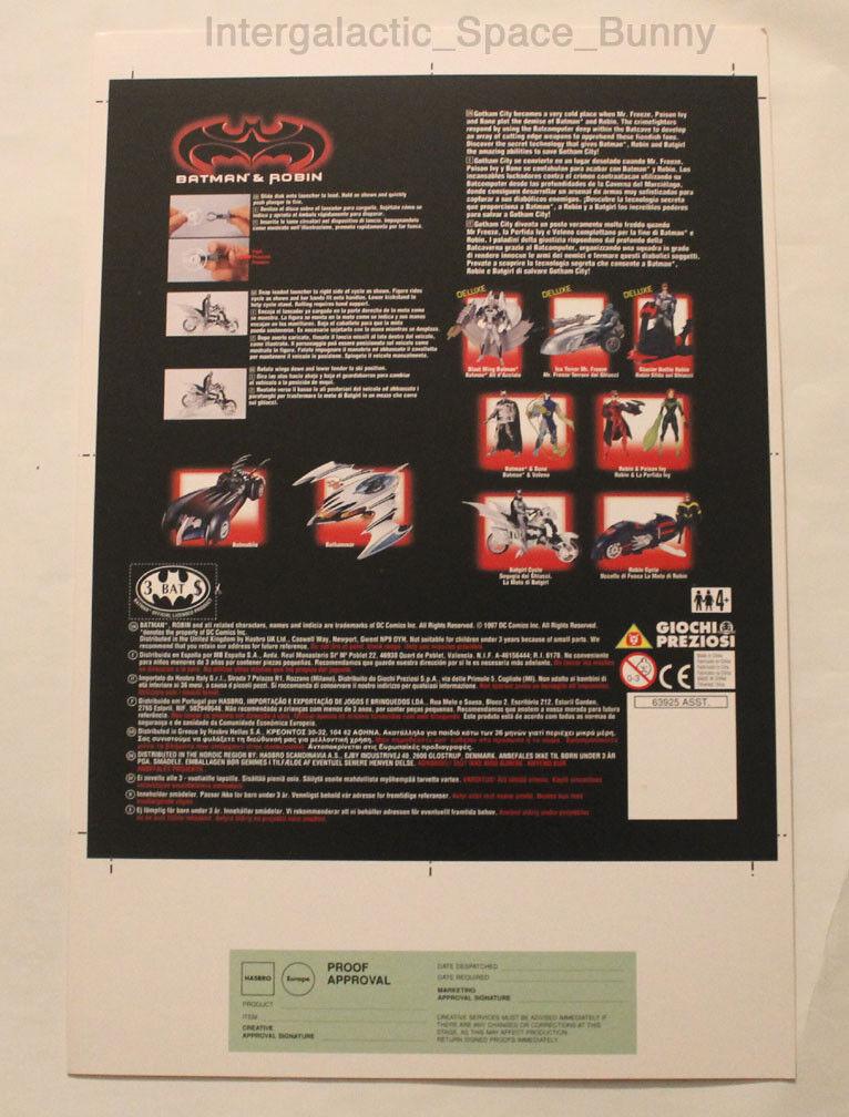 1997 Kenner Batman & Robin Batgirl Cycle Proof Card Pre-Production