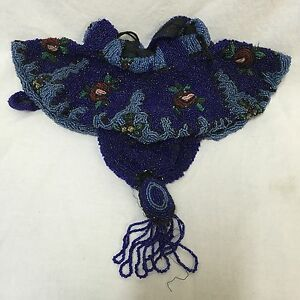 Antique-Beaded-Blue-Handbag-Reticule-Dance-Purse-Drawstring-Glass-Beads-Tassel
