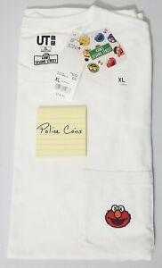 UNIQLO-KAWS-X-SESAME-STREET-GRAPHIC-T-SHIRT-ELMO-POCKET-WHITE-XL