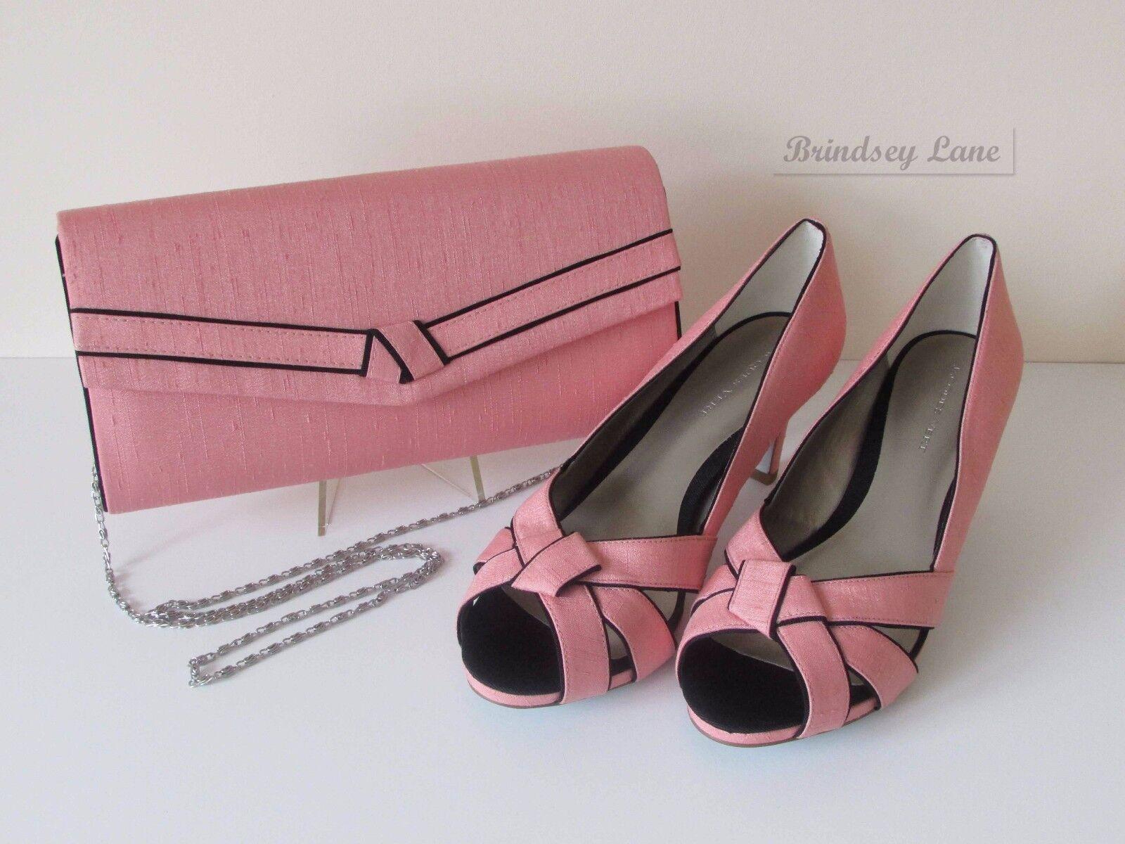 New Jacques Vert Coral Shoes & Bag ~ Black Trim ~  BNWB  RRP £168 ~ 7/40     grb