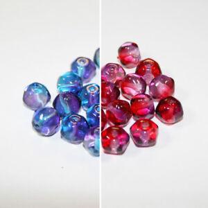 18 Viola/Blu o Rosso/Viola Bicolore Perline di Vetro Ceco; Taglia 10mm  </span>
