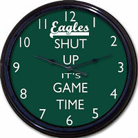 Philadelphia Eagles Football Wentz Shut Up It's Game Time Wall Clock Man Cave