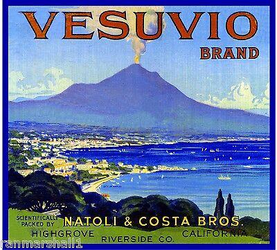 Highgrove Mount Vesuvio Italy Italian Orange Citrus Fruit Crate Label Art Print