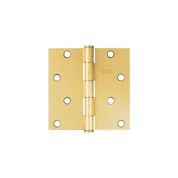 25 Pk Brass Finish 4  Square Full Mortise Residential Door Hinge 2 Pk N143040