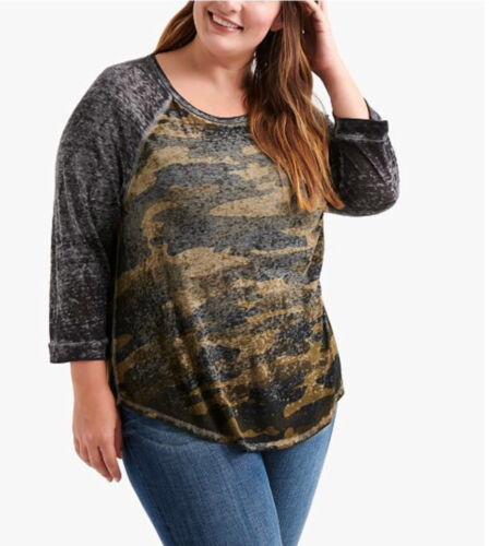 Lucky Brand plus size Camo baseball raglan  t shirt