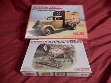 1/35 2 Lot ICM German Ambulance w/ 4 Dragon Soldiers Diorama?  F/S Boxes NEW!!
