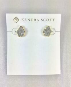 New Kendra Scott Tessa Platinum Drusy Gold Plated Stud Earrings