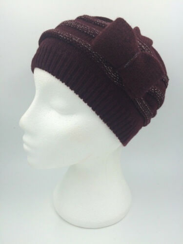 GIRLS DARK BURGUNDY SILVER TWINKLY KNITTED BEANIE HAT WITH BOW SIZE 50cm 0130