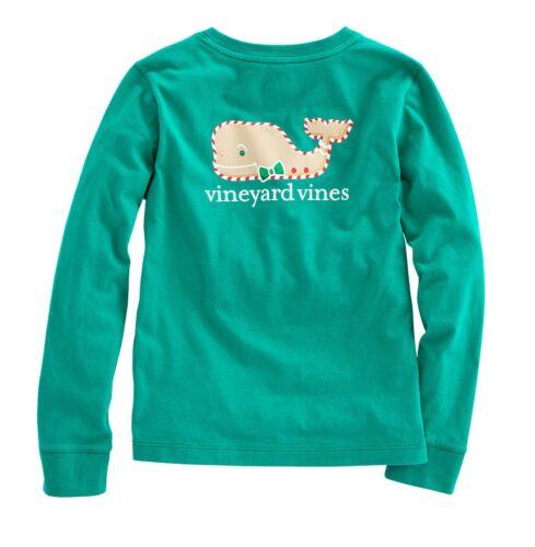 Vineyard Vines Girls Long Sleeve Gingerbread Whale Pocket Tee Green Holiday