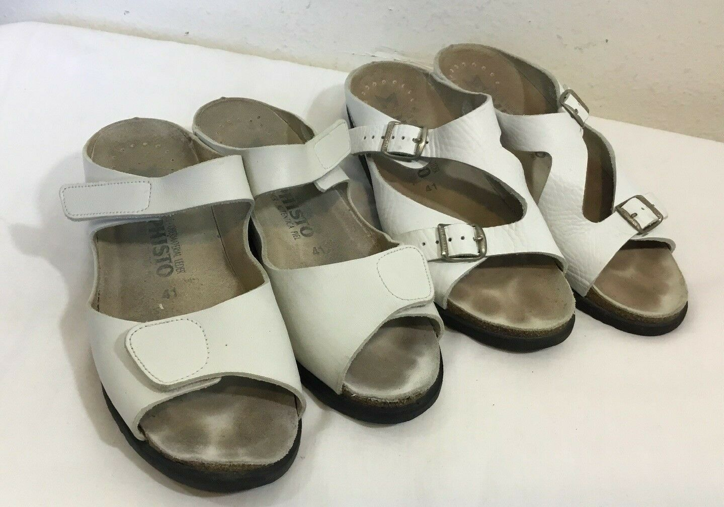 Mephisto Air Relax Sz41 EU Ivory Leather Wedge Slides Sandals Lot Of 2