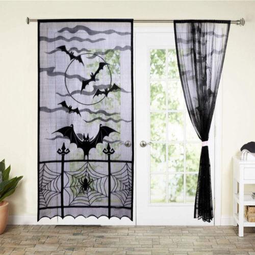 Halloween Vorhang Spitze Schläger Netz Vorhang Fledermäuse Fenstervorhänge Party