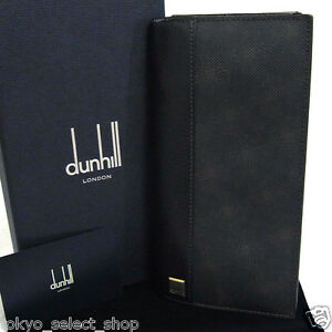Vintage-Authentic-Dunhill-Bifold-Long-Wallet-Dark-Brown-Canvas-amp-Leather-Box