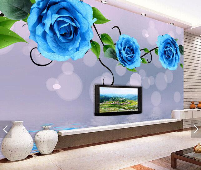 3D bluee Flower Water9 Wallpaper Mural Paper Wall Print Wallpaper Murals UK Carly