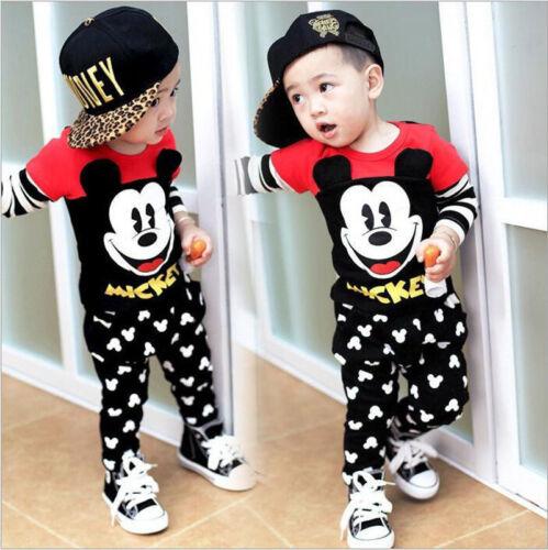Baby Girls Boys Cartoon Mickey Long Sleeve Tops+Pants Kids Cotton Clothes Sets