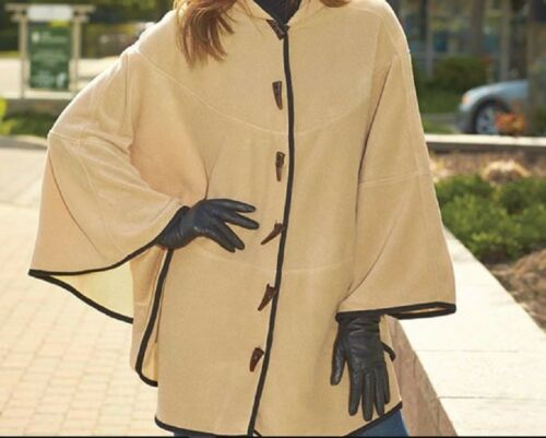 Women/'s Fleece Cape Button Front Hooded Capes Warm /& Cozy Great for Layering