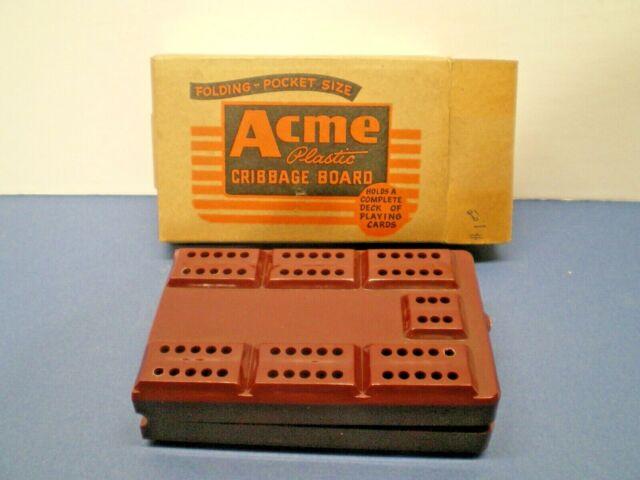VINTAGE ACME PLASTIC FOLDING POCKET SIZE CRIBBAGE BOARD-- pre 1959