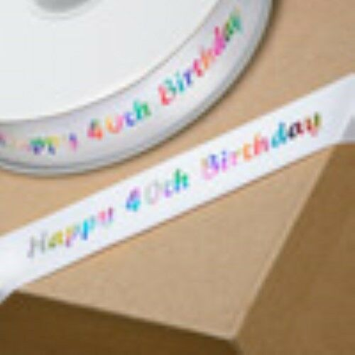 Happy Birthday Ribbon Multi Colour Foil on White 20mm 21st 30 40 50 60 70 80th
