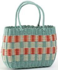 Retro Woven Shopping Basket 1940s and 50s Vintage Style Aqua Bag