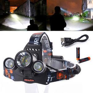 4-Modi-6000LM-3x-CREE-XM-L-T6-LED-Stirnlampe-Kopflampe-AKKU-USB-Kabel-LD374