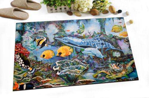 """15x23/"""" Undersea fish Kitchen Bathroom Shower Floor Non-Slip Bath Rug Carpet 4098"""