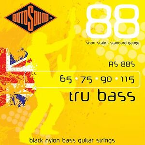 rotosound rs88s black nylon flatwound 4 string bass guitar strings short scale 686194000394 ebay. Black Bedroom Furniture Sets. Home Design Ideas