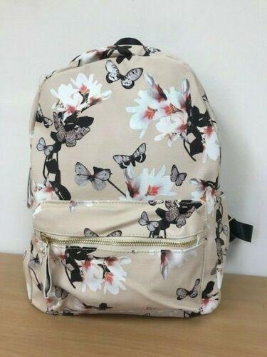 Brand New Floral Butterfly Rucksack Backpack Bag School bag Cream  Pink Black