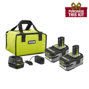 NEW-RYOBI-P166-18V-ONE-LITHIUM-HP-3-0Ah-Battery-2-Pack-Starter-Kit-Charger-P191