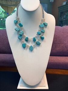 """Silver Two Strand Drop Pendant Layered Necklace 22"""" Turquoise Stone Crystal Bead"""