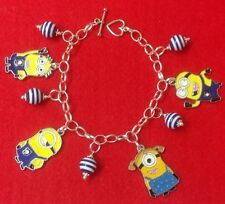 *Handcrafted DESPICABLE ME MINION Styled 4 Charm Beaded Silver Plated Bracelet**