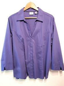 c8fae096819 Details about Riders by Lee Blouse Shirt Top Plus Sz 1X Blue Easy Care 3/4  Sleeve Button Down