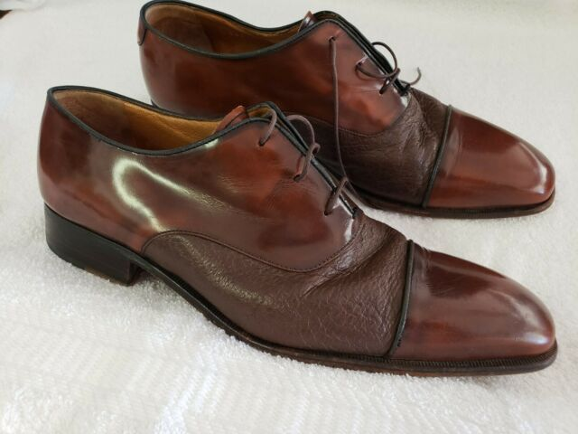 Mens Moreschi Italy Brown Leather Lace Up Captoe Oxford Derby Dress Shoes 10.5