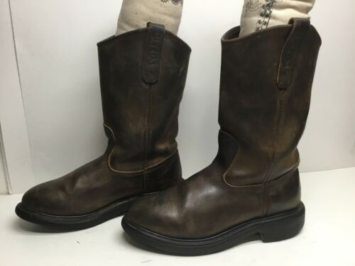 VTG MENS RED WING PECOS WORK BROWN BOOTS SIZE 6.5
