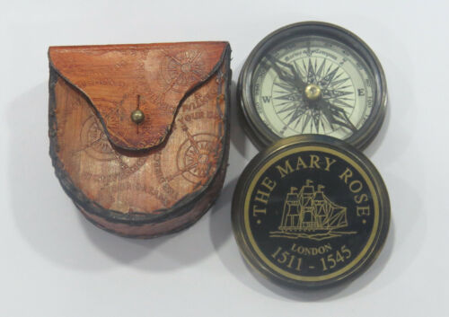 Unidecor Nautical Replica Mary Rose Brass Compass W Leather Case