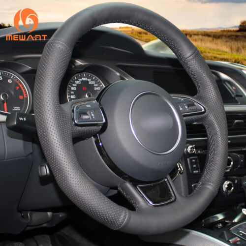 Hand-Stitched Black Leather Steering Wheel Cover for Audi A3 A4 A5 ...