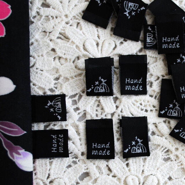 20 Black Sew In Seam Label Folded Sewing Labels - Vintage Birdcage Bird Handmade