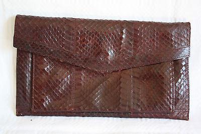 Damen Leder Clutch Handtasche Vintage Schlangenoptik