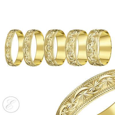 18ct Yellow Gold Beaded Edge Diamond Cut Stars Light D Shaped Wedding Ring Band