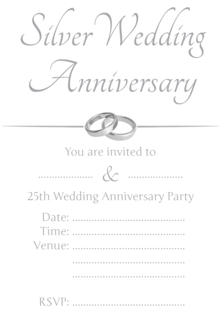 1 100 Pack Of 25th Silver Wedding Anniversary Party Invitations Cards Invite