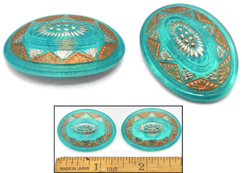 LG 34mm Vintage Czech Glass TURQUOISE Matte COPPER SILVER DOME OVAL Buttons 2pc