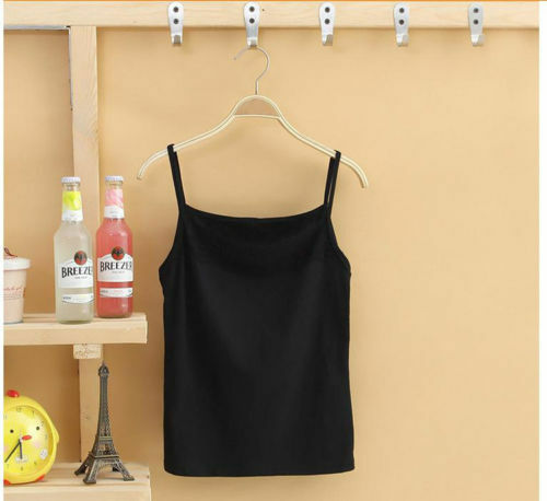 Women Sleeveless Camisole Basic Stretch Spaghetti Cotton Lace Tank Tops Cami New