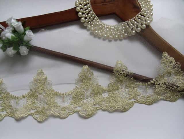 """5.5""""  Metallic Gold Embroidery Flowers Net Lace Trims-1.3 Yards (T933)"""
