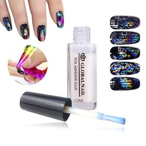 TRANSFER-FOIL-ADHESIVE-NAIL-GLUE-Star-For-Paper-White-Clear-10ML
