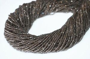 13-034-A-GENUINE-SMOKY-QUARTZ-RONDELLE-MICRO-FACETED-GEMSTONE-BEADS-3-4-MM