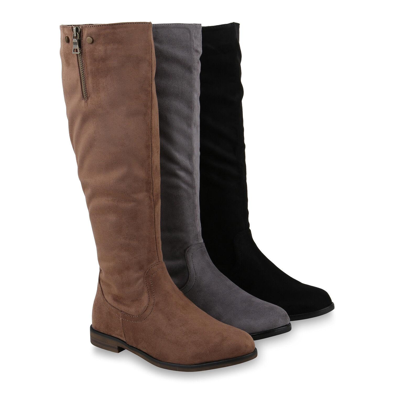 Klassische Damen Stiefel Leicht Gefütterte Boots Nieten 820370 Schuhe