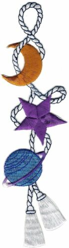 Blue Ringed Planet Yellow Moon Purple Star Rope Line Embroidery Patch