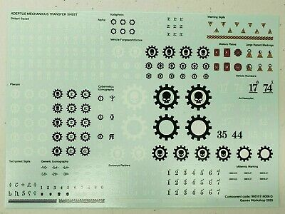 Warhammer 40k Adeptus Mechanicus Toboggan transfert Sheet 2020